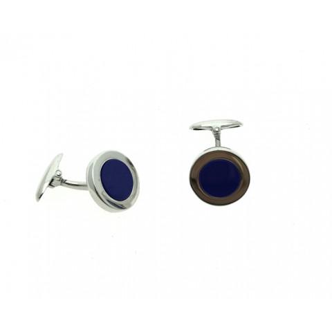 Gemelos Circulo Azul, Plata 925