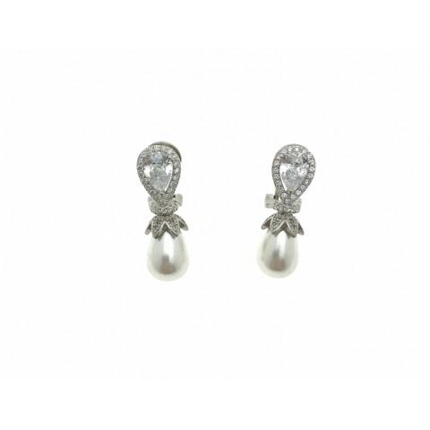 Pendiente omega circonitas perla Plata 1ªLey 925mm